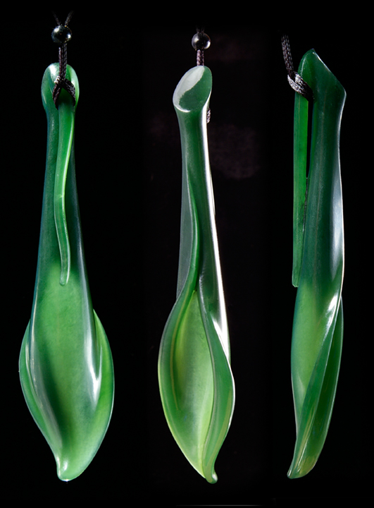 Lily x3 722 Hand Carved New Zealand Jade Lily