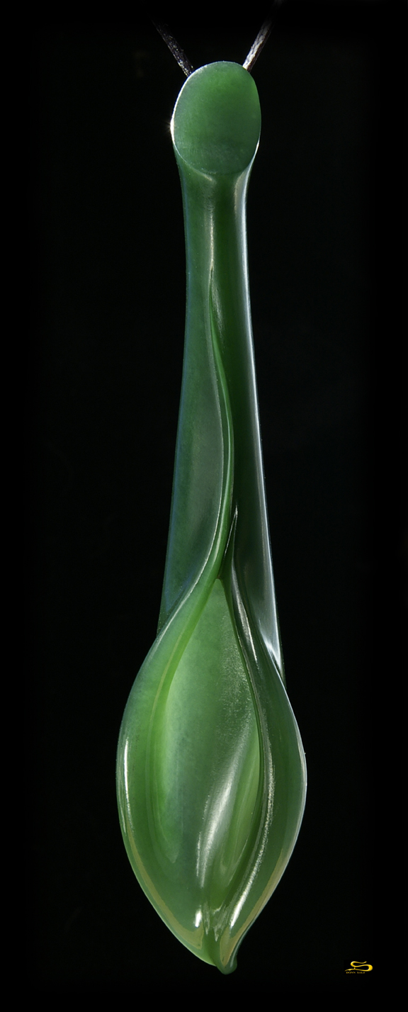 Lily3 72 Hand Carved New Zealand Jade Lily